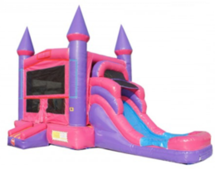 PINK CASTLE WITH SLIDE/POOL